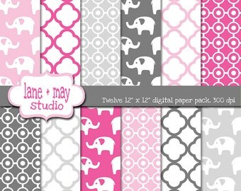 digital scrapbook papers - hot pink, light pink and gray elephants - INSTANT DOWNLOAD