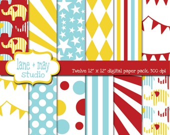 digital scrapbook papers - red, pale blue and yellow circus carnival patterns - INSTANT DOWNLOAD