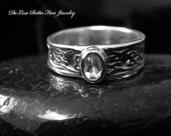 Eco-Friendly, Recycled Silver, Celtic, WhiteTopaz, Diamond Alternative, Fashion Ring, Gift