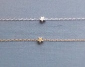 Tiny Star Bracelet, rhodium, silver plated, 16k gold plated, matte, dainty everyday, gift