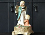 "Vintage Porcelain Music Box, Angel, ""Silent Night,"" Christmas Holiday Decorations,"