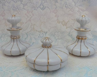 1950s Irice Vanity Set White Porcelain gold Trimmed Three Piece Set Perfume Bottles and Powder Box Trinket Box