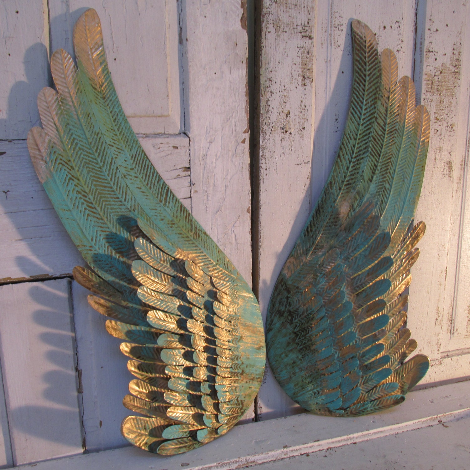 Angel wings turquoise distressed metal wall decor rusted