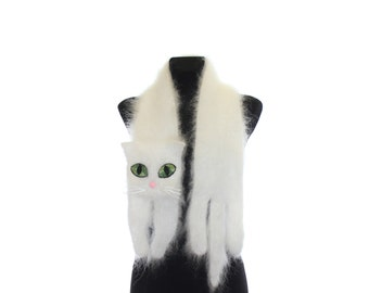 Knitted scarf / Fuzzy white Soft Scarf / cat scarf / knit cat scarf / white cat / animal scarf / unique gift