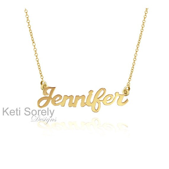 10K, 14K or 18K Solid Gold or Sterling Silver - Personalized Name Necklace - Customize it With Your Name - Yellow, Rose or White Gold