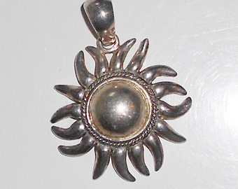 Sol pendant silver plated over brass large vintage happy sun pendant Free USA Shipping