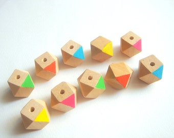Wood Beads,Hand Painted wood Beads, Summer Geometric Jewelry,Do it Yourself Geometric necklace