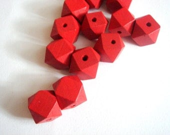 Geometric Red  Wood Beads 20mm Big Hole, Geometric Jewelry