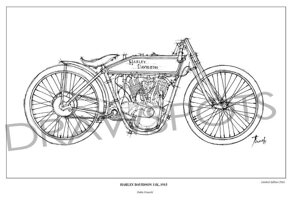 vintage motorbike portrait for fans  harley davidson 11k