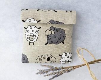 Linen sanitary pad holder- Grey sheep medicine or napkin pill case bag
