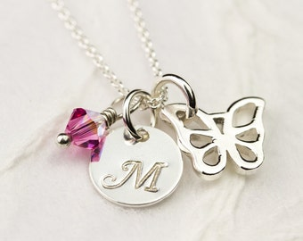 Personalized Flower Girl Necklace - Butterfly with Stamped Initial, Swarovski Birthstone, Sterling Silver Flower Girl Jewelry, Gift for Girl