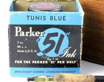 Parker 51 Tunis Blue Vintage Ink Bottle