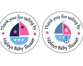 """Personalized 2.5"""" OR 2"""" Round Nautical, baby Girl sailboat shower sticker favors, decorations - , baby girl nautical shower"""