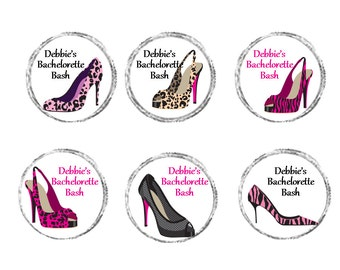 "Personalized Bridal Shower, Bachelorette Party ""Stiletto"" Sticker Labels - sheet of 108 - 0.75"" labels"