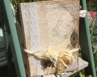 Wedding Guest Book - Our Journey of love - vintage style - Mustard yellow and ivory