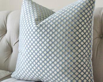 Decorative Designer Blue Pillow Cover - Scalamandre- Geometric Pillow Cover - Cut Velvet Pillow- Quadrefoil Pillow Cover -Blue Throw Cushion