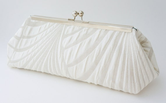 Ivory Bridal Clutch - Gatsby Deco 1920's Inspired - Wedding Handbag - Evening/Bridesmaid Purse - Includes Crossbody Chain - Made to Order