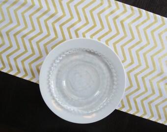 Gold & White Chevron Table Runner / Ready to Ship