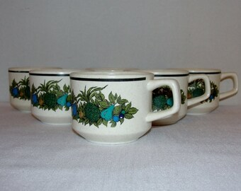 Lenox Stackable Coffee/Tea Cups in Turquoise and Green MCM Pineapple Motif