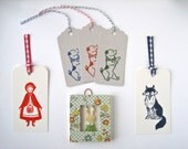 Reserved for Jennifer -  Rabbit Wall Art / Terrier Gift Tags / Fairytale Bookmarks