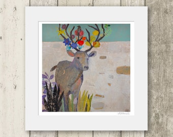 Deer print / ON SALE / Limited edition Mounted Giclee art Print - Signed & numbered.