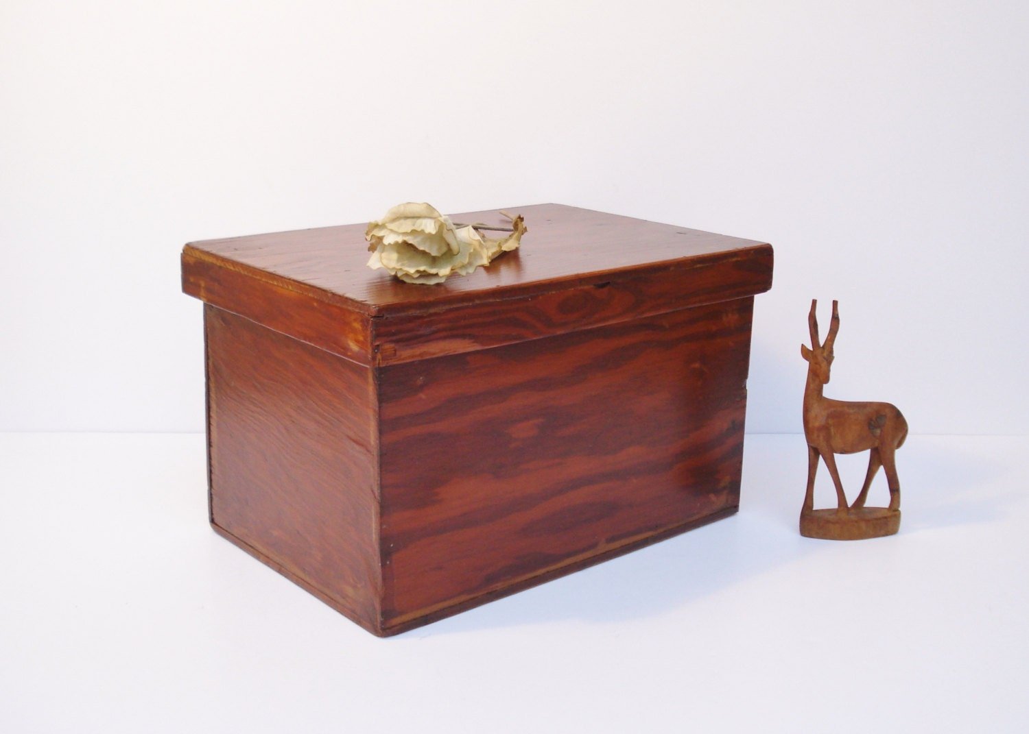 Vintage 1940s Hand Made Wooden Storage Box Storage Box With