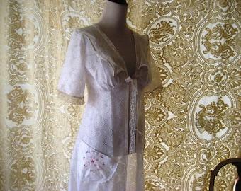 Shabby lace robe, sheer robe, white eyelet lace robe, upcycled summer robe, romantic lace robe, small to medium