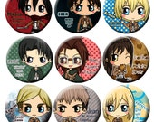 Attack on Titan / Shingeki no Kyojin Chibi Button Set - Levi, Eren, Mikasa, Armin, Hanji, Sasha, Erwin, Jean and H istoria