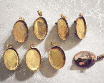 8 Brass Pin Brooches With 18x13mm Setting