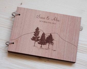 Custom wedding guest book wood rustic wedding guest book album bridal shower engagement anniversary - Colorado Wedding