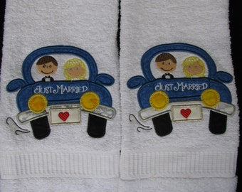 "Applique/Embroidered ""Just Married"" Hand Towels"