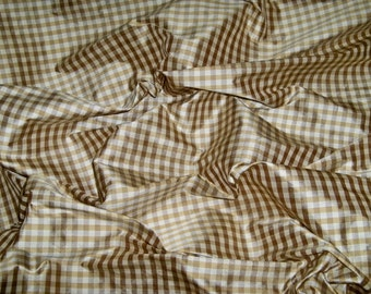 TAPESTRIA FRENCH COUNTRY Gingham Check Silk Fabric 10 yards Gold Cream