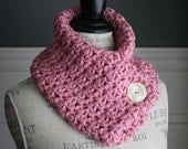 ROSE Cowl Neck Scarf with off-white button, crocheted