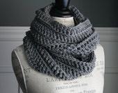 GREY Chunky Crocheted Infinity Scarf