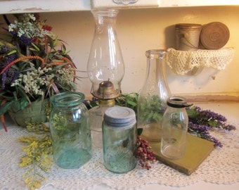 Vintage Rustic Centerpiece Set 1 Oil Lamp, 1 Wax Seal Aqua Ball Jar, 1 Antique Shoulder Seal Aqua Pint Jar, 2 Rustic Milk Bottles B59