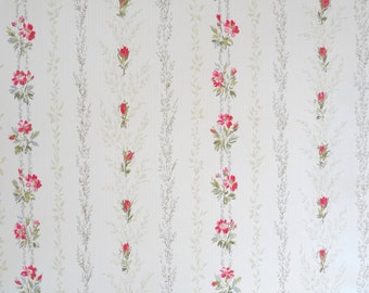Vintage  WALLPAPER by the YARD, French Striped Floral Wallpaper from the 70s. Small Flowers in Red, Gray, Beige, Green on a Cream Background