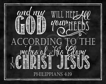 Scripture Art - Philippians 4:19 Chalkboard Style