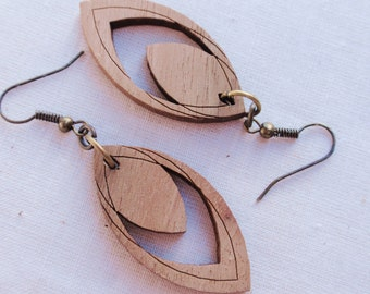 Wood Feather Earrings