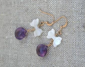 Tinsley Earrings: Amethyst briolette earrings accented with mother of pearl - MOP - bow on 14k gold-fill