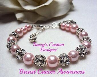 Stunning BREAST CANCER AWARENESS Bracelet - Custom made designs.