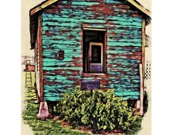 Tiny Blue House Sharecropper Shack Glicee Print 8x10 Mississippi Delta  - Korpita ebsq
