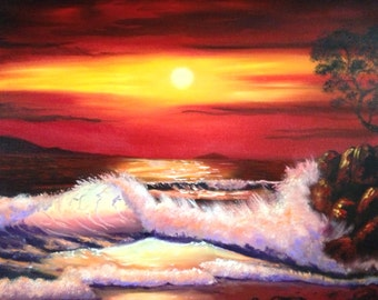 "Seascape - Giclee Canvas Print - Red - Ocean at Sunset - ""Sunset's Glow"""
