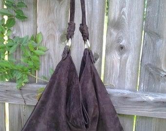 Chocolate Brown/ Suede Boho Style Hobo Bag