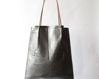 Womens modern simple hand made leather purse minimal leather tote amy kreiling