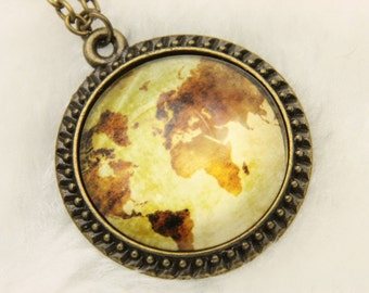 Necklace world map la carte du monde 2525C