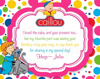 Caillou Theme Inspired Digital Thank you card