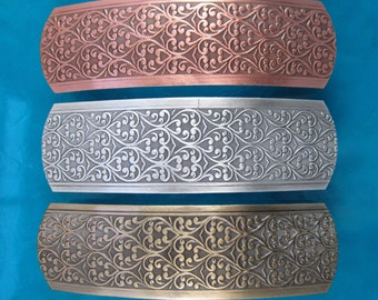 SCROLL FRENCH BARRETTE 80mm Silver Ox-Copper Ox-Brass Ox finishes