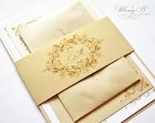Gold Wedding Invitations, Gold, Champagne, Victorian Wedding Invitations, Elegant, Vintage, Gold Invitations, Gold Wedding