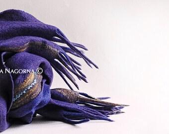 Navy blue scarf, boho-chic, eco-fashion, luxury item  ,Nuno-felted scarf, Fashion accessory, Shawl, Wool stole , hand made,blue