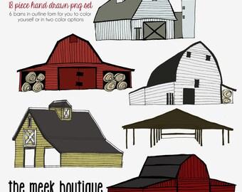 INSTANT DOWNLOAD, Clip Art Set, Hand Drawn Barn Set, No. 20